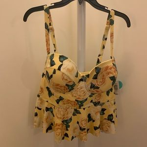 Yellow floral Midkini top